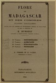 Vol fam 24: Scheuchzeriacees: Flore de Madagascar et des Comores plantes vasculaires - publiee sous les auspices du gouvernement general de Madagascar et sous la direction de H. Humbert.