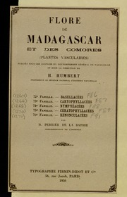 Vol fam 74: Nympheacees: Flore de Madagascar et des Comores plantes vasculaires - publiee sous les auspices du gouvernement general de Madagascar et sous la direction de H. Humbert.