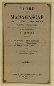 Vol fam 43: Taccacees: Flore de Madagascar et des Comores plantes vasculaires - publiee sous les auspices du gouvernement general de Madagascar et sous la direction de H. Humbert.