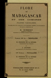 Vol fam 108bis: Trigoniacees: Flore de Madagascar : (plantes vasculaires)