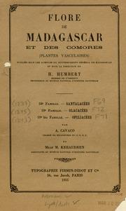 Vol fam 59: Olacacees: Flore de Madagascar et des Comores plantes vasculaires - publiee sous les auspices du gouvernement general de Madagascar et sous la direction de H. Humbert.