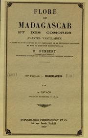 Vol fam 80: Monimiacees: Flore de Madagascar et des Comores plantes vasculaires - publiee sous les auspices du gouvernement general de Madagascar et sous la direction de H. Humbert.