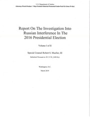 MuellerReport : Department of Justice : Free Download, Borrow, and Streaming : Internet Archive