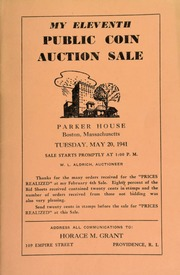 Bunker Hill Day twelfth public coin auction sale at the Parker House, Boston Massachusetts. [06/17/1941]