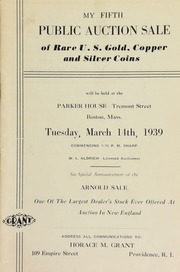 My fifth public auction sale of rare U. S. gold, copper, and silver coins ... at the Parker House, Tremont Street, Boston, Mass ... [03/14/1939]