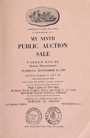 My ninth public auction sale : catalogue of rare United States copper, silver and gold coins, tokens, medals, etc. ... [11/19/1940]