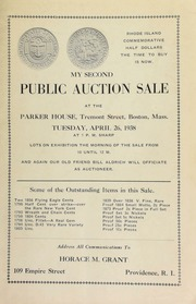 My second public auction sale at the Parker House, Tremont Street, Boston, Mass ... [04/26/1938]