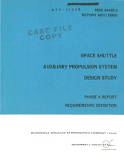Space Shuttle Auxiliary Propulsion System Design Study Phase A Report Requirements Definition Orton G F Free Download Borrow And Streaming Internet Archive