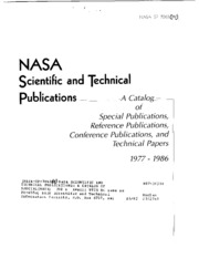 NASA scientific and technical publications: A catalog of Special Publications, Reference Publications, Conference Publications, and Technical Papers, 1977-1986