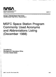 MSFC Space Station Program Commonly Used Acronyms and Abbreviations Listing