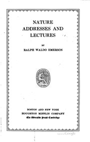 emerson ralph waldo. essays and lectures