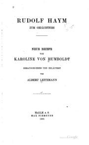 Neue Briefe von Karoline von Humboldt