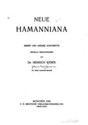 Neue Hamanniana; Briefe und andere Dokumente erstmals