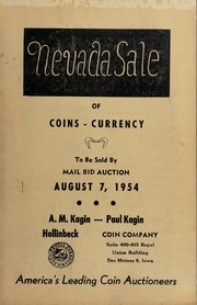 Nevada Sale of Coins-Currency To Be Sold By Mail Bid Auction