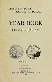 New York Numismatic Club: Yearbook 1918-1921