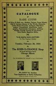 Ninth catalogue of rare coins of silver & gold, etc., medals, tokens, paper money, odd & curious money of the world, ... numismatic literature, military medals, ... to be sold by mail auction to the highest bidder ... [02/20/1934]