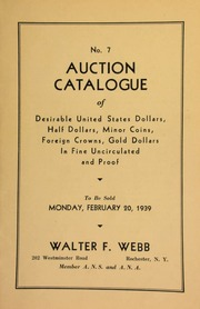 No. 7. Auction catalogue of desirable United States dollars, half dollars, minor coins, foreign crowns, gold dollars, in fine uncirculated and proof. [02/20/1939] (pg. 18)