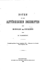 Vol 12: Noten zu den alttürkischen Inschriften der Mongolei und Sibiriens