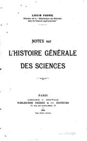 Notes sur l-histoire générale des sciences