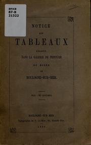 Notice des tableaux exposés dans la galerie de peinture du Musée de Boulogne-sur-mer