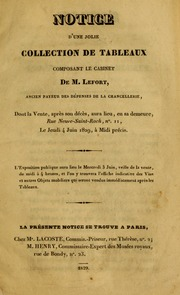 Notice d-une jolie collection de tableaux composant le cabinet de M. Lefort ..