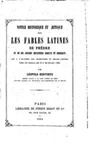 Notice historique et critique sur les fables latines de Phèdre et de ses ...