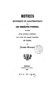 Notices historiques et caractéristiques sur les Israélites d-Odessa. Précédées d-un aperçu ...