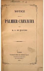 Notice sur le palmier carnauba