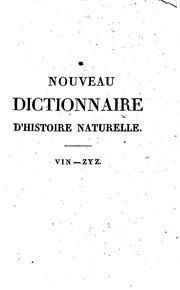 Vol 36: Nouveau dictionnaire d-histoire naturelle, appliquée aux arts, à l ...