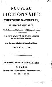 Nouveau dictionnaire d-histoire naturelle, appliquée aux arts ...