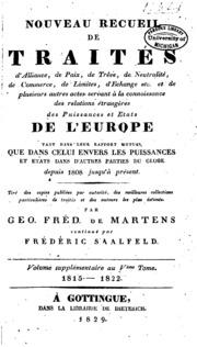 Vol 5: Nouveau recueil de traités d-alliance, de paix, de trève... et de plusieurs autres actes servant ...