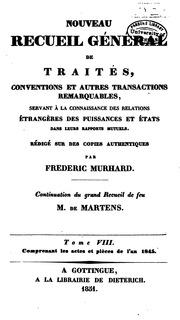 Vol 8: Nouveau recueil général de traités: conventions et autres transactions remarquables, servant à ...