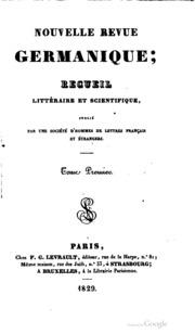 Nouvelle revue germanique; recueil littéraire et scientifique