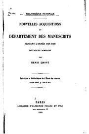 Nouvelles acquisitions du Département des manuscrits pendant les années 1891-1910. Répertoire alphabétique des manuscrits latins et français