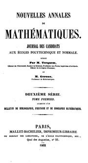 Nouvelles Annales de Mathematiques Tome Premier