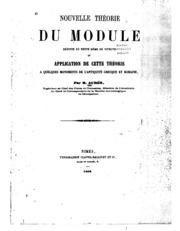 Nouvelle théorie du module: déduite du texte méme de Vítruve et application de cette théorie a ...