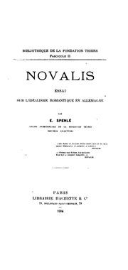 Novalis: essai sur l-idéalisme romantique en Allemagne
