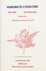 Numismatic Literature Mail Bid Auction Sale: Number One