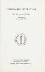 Numismatic Literature Mail Bid Auction Sale: Number Two