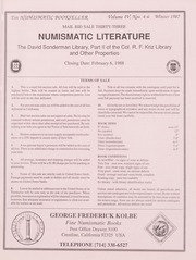 The Numismatic Bookseller: Vol. 4 Nos. 4-6, Winter 1987