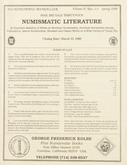 The Numismatic Bookseller: Vol. 5 Nos. 1-3, Spring 1988