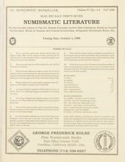 The Numismatic Bookseller: Vol. 5 Nos. 4-6, Fall 1988