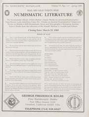 The Numismatic Bookseller: Vol. 6 Nos. 1-3, Spring 1989