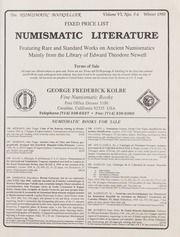 The Numismatic Bookseller: Vol. 6 Nos. 5-6, Winter 1990