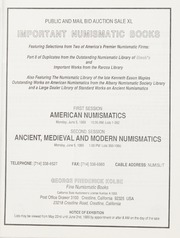 Important Numismatic Books: Public Auction Sale XL