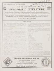 Numismatic Literature: Mail Bid Sale Thirty-Nine