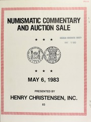 Numismatic commentary and auction sale : featuring coins , medals and banknotes of China and Annam. [05/06/1983]