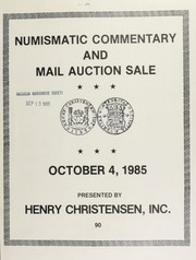 Numismatic commentary and mail auction sale ... [10/04/1985]