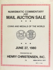 Numismatic commentary and mail auction sale ... [06/27/1980]