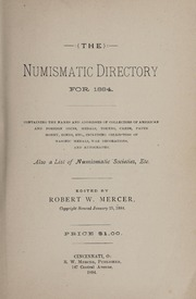 The Numismatic Directory for 1884